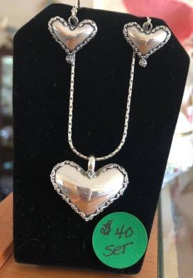 Heart Necklace & Earrings Set
